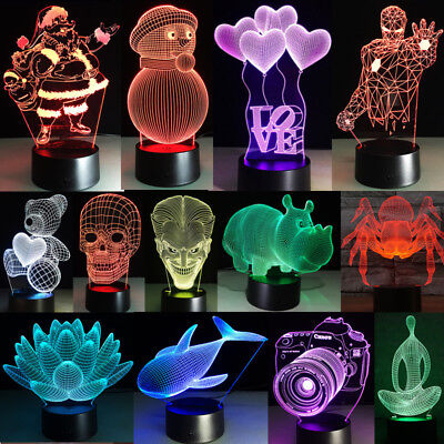 Night Light Touch Switch Desk 3D LED Lamp 123 Style 7Colour Changing XMAS Gift