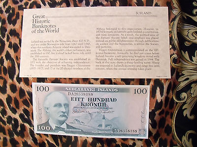 Great Historic Banknotes Iceland 1961 100 Kronur P44 UNC sign. 43