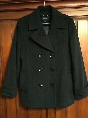 warm & high quality LAND'S END Women's wool cashmere black COAT size 14