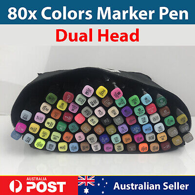 Colorified Dual Head Marker Pens 80 Colors Set Artist Graphic Sketch Graffiti