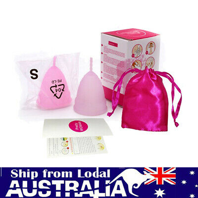 AU SALE Soft Silicone Menstrual Cup Womens Period 100% Medical Soft Reusable sl