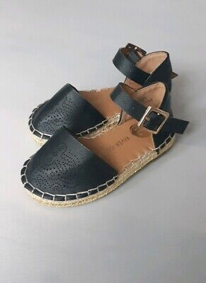 RIVER ISLAND Baby Girls Black Faux Leather Sandals Summer Shoes__UK 4 Infant