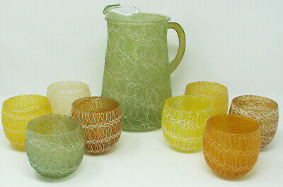 Mid Century Modern Spaghetti Coated Glass Pitcher + 8 Roly Poly Tumblers Vintage