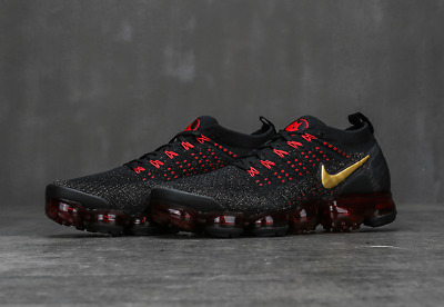 Nike Air VaporMax 2018 Flyknit 2.0 Men's Black/Red/Gold Running Trainer Shoes