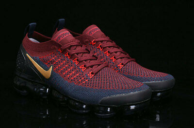 Nike Air VaporMax 2018 Flyknit 2.0 Men's Red/ Blue/ Gold Running Trainers Shoes