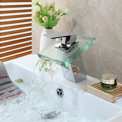 Waterfall Glass Spout Bathroom Basin Vessel Sink Mixer Faucet 1 Handle Hole Taps