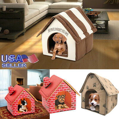 Indoor Kennel House Small Pet Home Soft Cat Warm Cozy Portable Puppy Bed GA