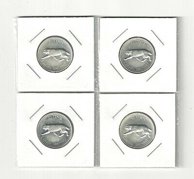 Four (4x) 1967 Canada Centennial Silver Quarter 25 Cent with Collector Packaging