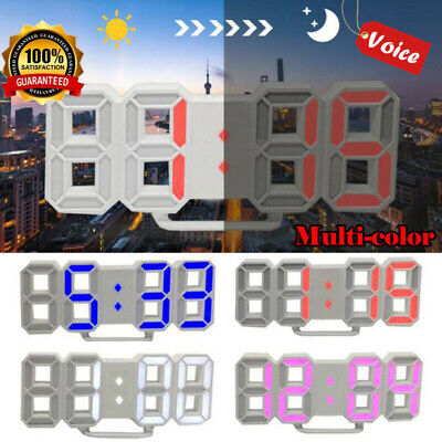 Digital 3D LED Wall Clock Modern Alarm Clock Snooze 12/24 Hour Display Bedroom