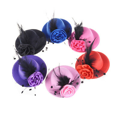 Elegant Mini Top Feather Hat Fascinator Hair Clip Party Costume HairAccessory lq