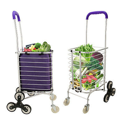 Stair Climbing Folding Shopping Grocery Basket TRUCK Cart Trolley 8 Wheels & Bag
