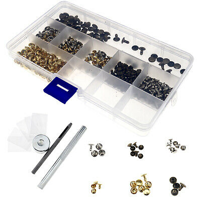 180 Sets 3 Color Golden Silver Bronze Double Cap Rivet With Fixing Tool Kit