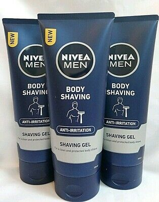 6 x 200ml NIVEA MEN Body Anti-Irritation Shaving Gel With Aloe Vera Free Post