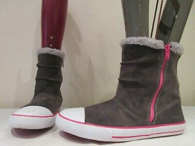 Girls Clarks Grey Suede Zip Up Ankle Boots Uk 2.5F (3387)