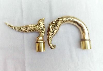 Nautical Brass Designer Handles Combo Eagle and Elephant Head Item Walking Stick
