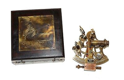 Antique brass nautical sextant j scott london with handmade wooden box gift item