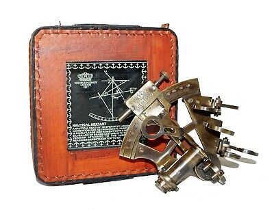 Antique brass nautical sextant ventura germany with handmade leather case gift
