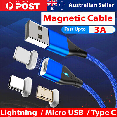 Magnetic Type C Lightning Micro Charger Fast Charging Data Cable iPhone Android