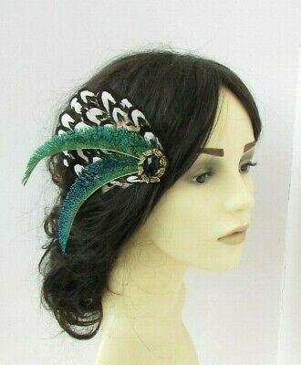 Black Gold Brown White Green Peacock Pheasant Feather Fascinator Hair Clip 7712