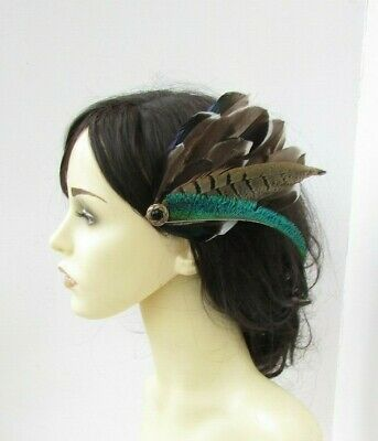 Green Brown Black Gold Peacock Pheasant Feather Fascinator Hair Clip Races 7715