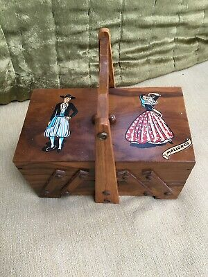 CANTILEVER SEWING BOX Miniature Tabletop Craft Dress Making Hobby Buttons