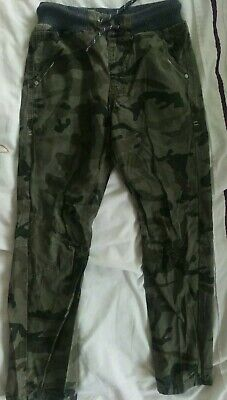 BOYS CARGO TROUSERS ARMY PULL ON CAMOUFLAGE ELASTICATED WAIST PLAY COMBAT PANTS