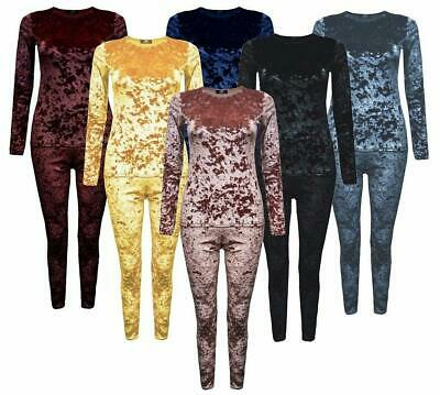 Kids Girls Loungewear Crushed Velvet Velour 2 Piece Tracksuit Top And Bottom 5-1