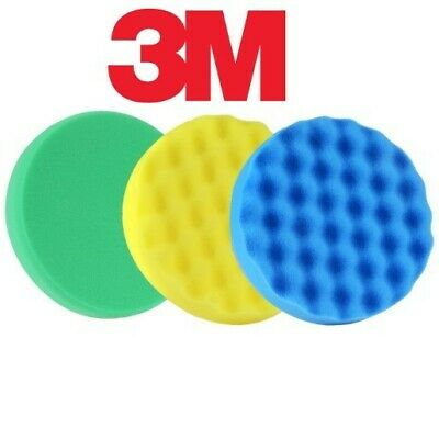 3M PERFECT-IT III SET Green Yellow Blue sponge compound polishing pads 150mm 3X