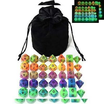 Double Color Glow in The Dark Dice Set 35 Pieces Polyhedral for RPG DND...