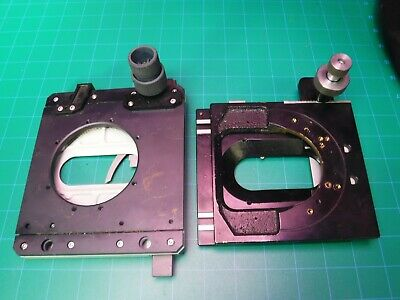 1 LOT (2) MICROSCOPE STAGES FITS Zeiss OR Leitz  horse shoe mount