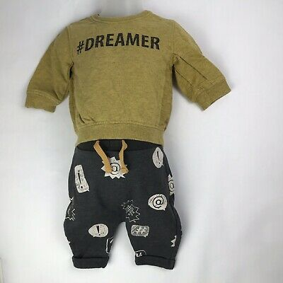 NEXT Infant Baby Boy Mustard Top and Grey Bottom Tracksuit Outfit up to 3 Months