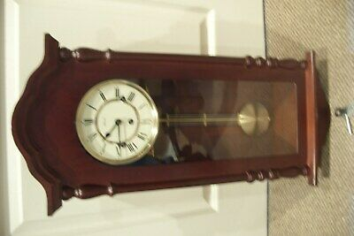 1970's German Hermle Mahogany Wall Clock With Westminster Chimes.