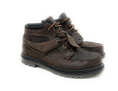 Timberland Gore Tex Men Sz 10.5 W Brown Leather Strap Chukka Ankle Boots Moc Toe