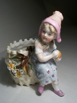 Antique Porcelain Figurine Girl with planter or match holder basket