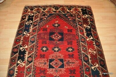 ANTIQUE TURKISH Tribal 4'X6' AUTHENTIC WOOL Oriental rug handmade, hand knotted