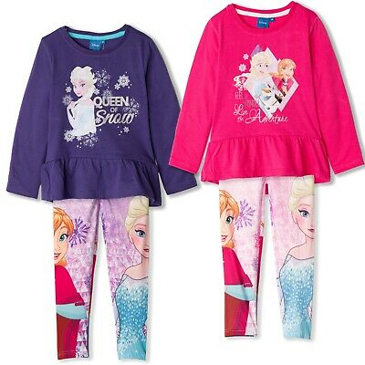 Disney Frozen Girls Long Sleeve Outfit Clothes Set Tunic and Leggings 2-8 Yrs