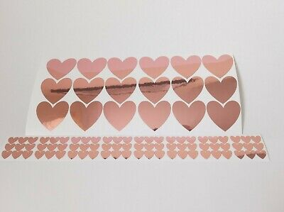 Rose Gold Heart Decal Stickers (x81) Scrapbook Card Making Crafts Wall Decals