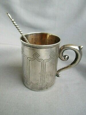 Antique Silver Tea Cup w/ 84 Silver Twisted Spoon probably Imperial Russian