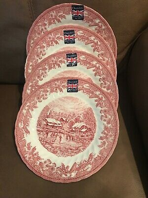 Churchill Royal Sussex 4 Winter Red Skating House Cottage Dinner Plates Dishes