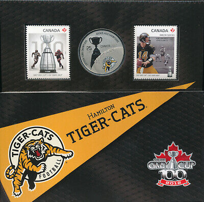 2012 Canada 25 Cents Hamilton Tiger-Cats CFL Oversized Specimen Coin & Stamp Set