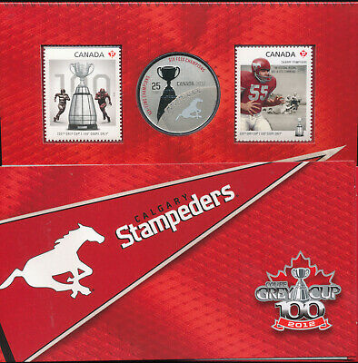 2012 Canada 25 Cents Calgary Stampeders CFL Oversized Specimen Coin & Stamp Set
