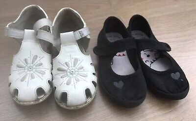 2 pairs of Girls Shoes, white leather and Black plimsolls size 11 (30)