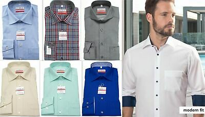 Mens Shirt Marvelis Tailored Modern Fit Non Iron Pure Cotton Long Sleeve
