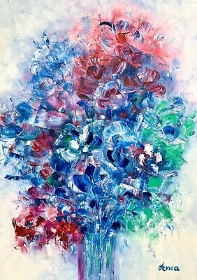 Abstract flower painting - floral painting-modern abstract painting on canvas