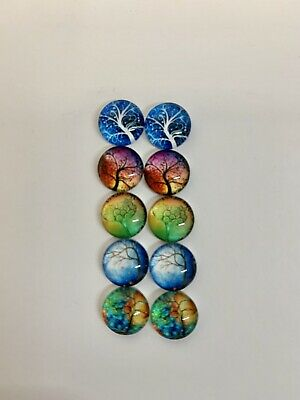 5 Pairs Of 10mm Glass Cabochons #542