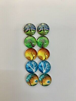 5 Pairs Of 10mm Glass Cabochons #977