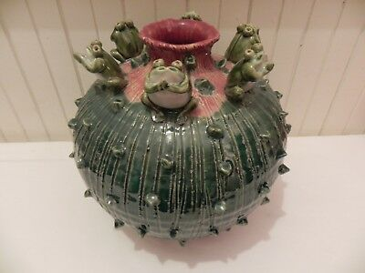 Green/ Purple Sphere Chinese Vase With Lines And 6 Frogs figurines.