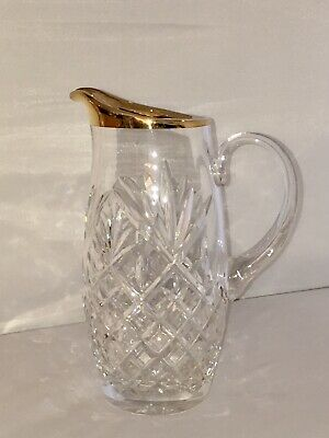 Mid Century Vintage Pineapple Design Cut Lead Crystal Pitcher W/ Gold Rim Trim