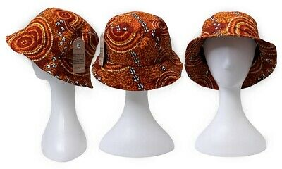 Bunabiri Aboriginal Art Cotton Bucket Hat - Dry Season