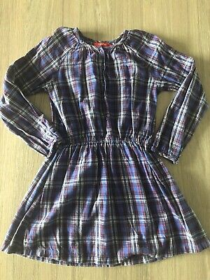 Oilily Girls Age 5-6 Long Sleeved Dress Checked Pattern Blue White Red Winter